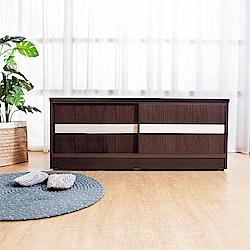 Birdie南亞塑鋼-4尺拉門/推門塑鋼坐式鞋櫃/穿鞋椅胡桃+白橡-121x41x50cm