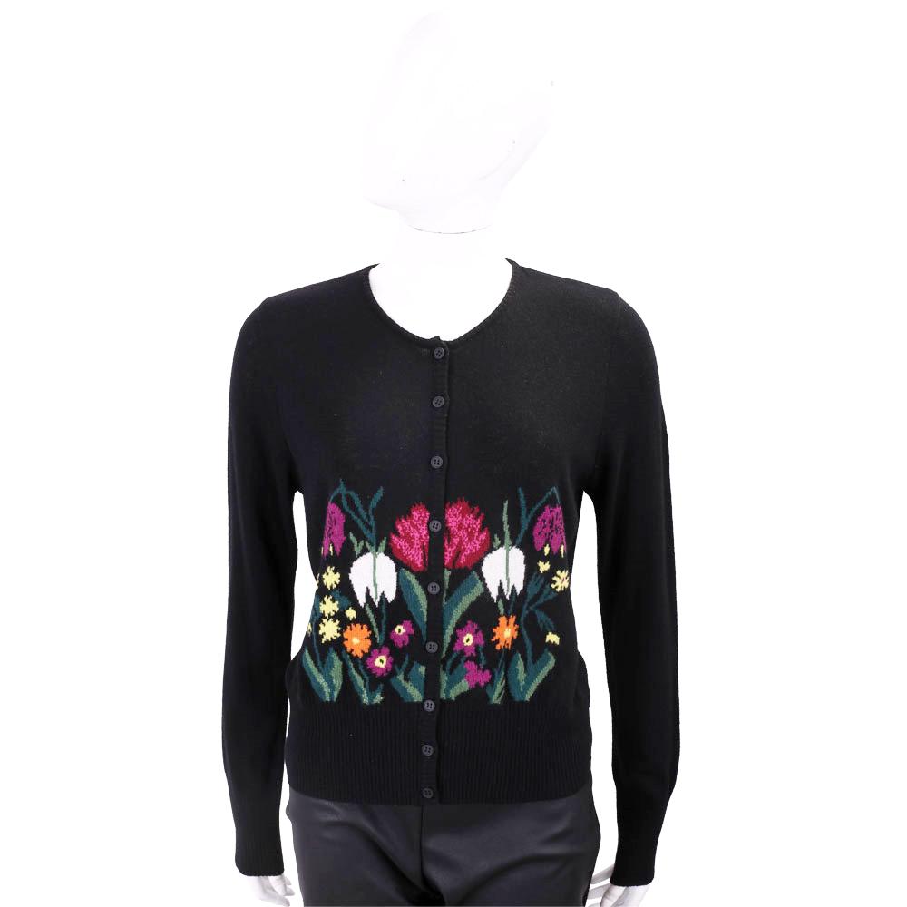 BLUGIRL 花卉圖繡黑色開襟喀什米爾羊毛衫