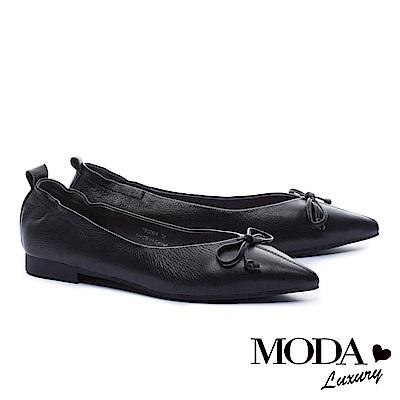 低跟鞋 MODA Luxury 極致尖楦蝴蝶結造型全真皮低跟鞋-黑