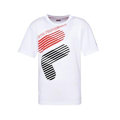 FILA 男款抗UV吸濕排汗T恤-白色 1TET-1304-WT