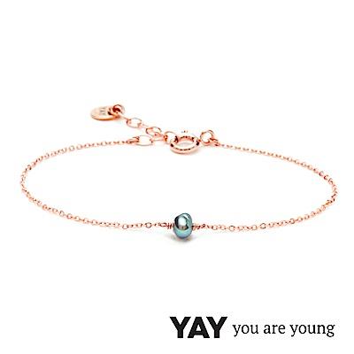 YAY You Are Young 法國品牌 Stella 灰珍珠手鍊 單層款 玫瑰金