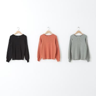 【CUMAR】百摺袖口菱格毛衣-女長袖針織衫(三色/版型適中)