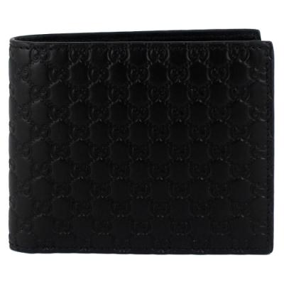 GUCCI Guccissima 黑色厚質真皮壓紋多夾層短夾(6卡)