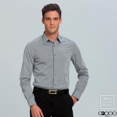 單色紗長袖上班襯衫-灰色