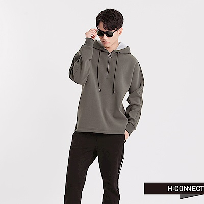 H:CONNECT 韓國品牌 男裝 - 太空棉連帽T-Shirt-綠(快)