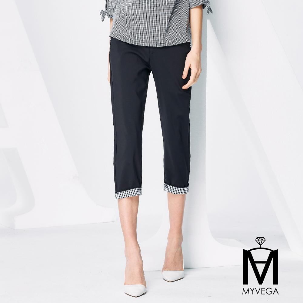 MYVEGA麥雪爾 MA高含棉黑白格紋八分褲-黑