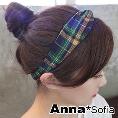 AnnaSofia 格紋元素交叉結 彈性寬髮帶(藍綠系)