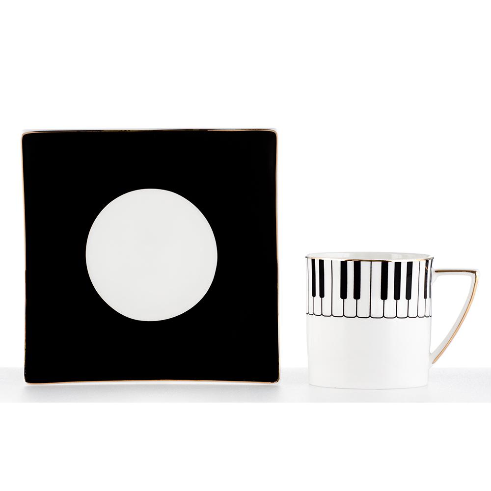 Royal Duke 骨瓷咖啡杯碟組-鋼琴(二杯二碟)
