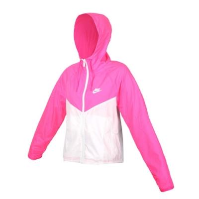 NIKE 女連帽外套-風衣 防風 平織 寬版 BV3940-639 螢光粉白
