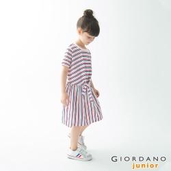 GIORDANO 童裝收腰綁帶造型連身裙-82 白/藍/紅