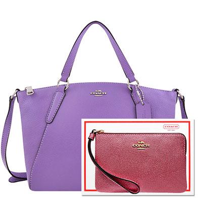 COACH 紫色皮革小型波士頓包+COACH 粉紅色光澤防刮皮革手拿包