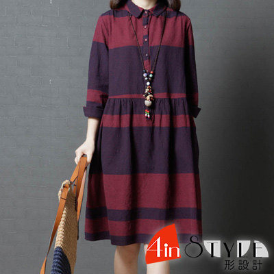 簡約翻領撞色長袖娃娃洋裝 (共二色)-4inSTYLE形設計
