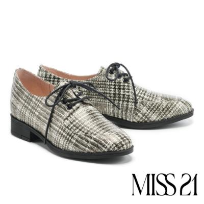 低跟鞋 MISS 21復古尖頭率性綁帶低跟鞋-格紋