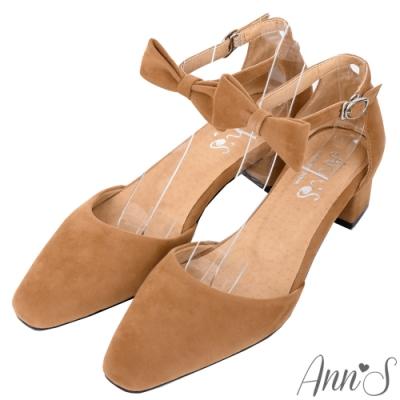 Ann'S甜美女孩-蝴蝶結可拆多WAY粗跟方頭跟鞋-棕