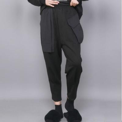 設計所在Style-哈倫褲高腰黑色九分褲大口袋時尚休閒褲