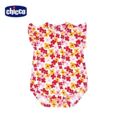 Chicco- TO BE BG-繽紛花朵荷葉袖連身衣