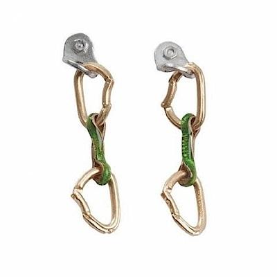 SAC E14 Spit Express 琺瑯釉鍍金/銀耳環 快扣鉤環 成對 綠
