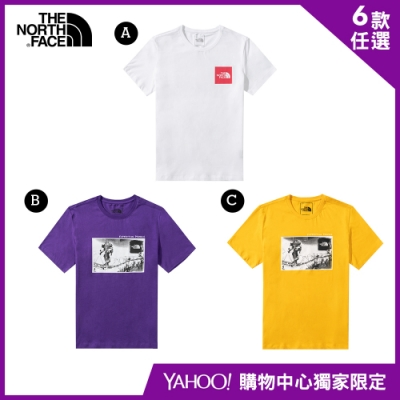 【The North Face】YAHOO獨家限定-北面男女款經典休閒短袖上衣-6款任選
