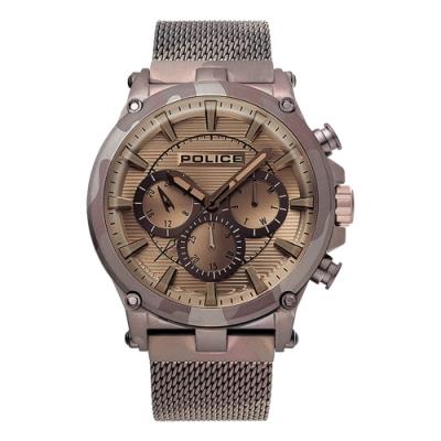 POLICE 迷彩時尚三眼腕錶-卡其(15920JSMBN-20MM)/47mm