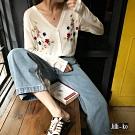 JILLI-KO 花朵繡紋針織罩衫- 黑/白