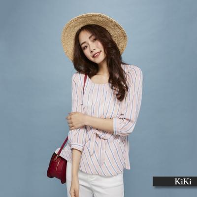 新降【KiKi】綁帶條紋-襯衫(二色)