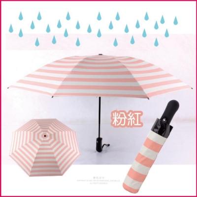 【生活良品】8骨自動摺疊反向晴雨傘-條紋款海軍紋粉紅色