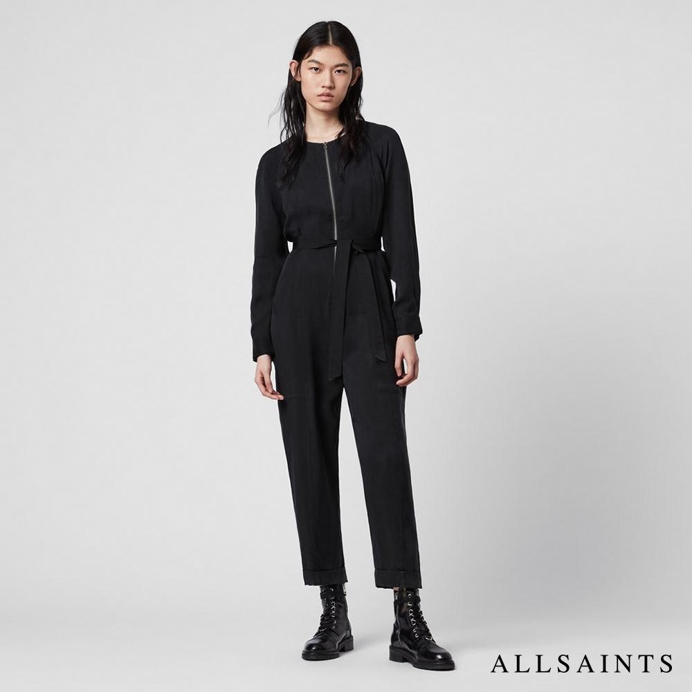 ALLSAINTS ERIN 素面修身綁帶拉鍊造型連身褲-黑
