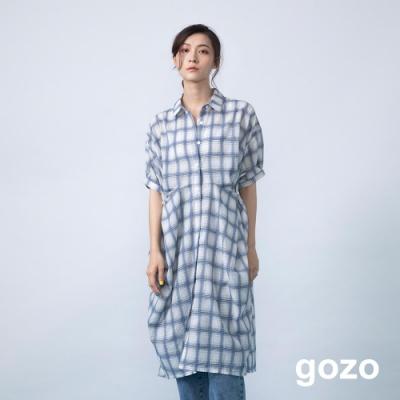 gozo 邊釦抓皺格紋造型長版襯衫(二色)
