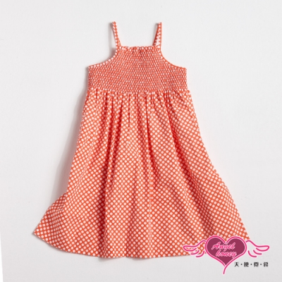【天使霓裳-童裝】渡假風情 圓點可愛無袖細肩帶小洋裝(橘)