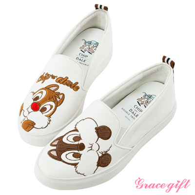 Disney collection by grace gift拼接電繡內增高懶人鞋白