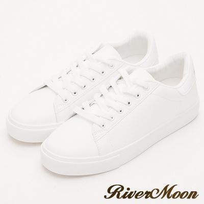 River&Moon小白鞋- 超激瘦不對襯塗鴉厚底小白鞋-海豚