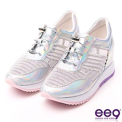ee9 鑲嵌亮鑽彈力鬆緊帶厚底內增高休閒鞋 銀色