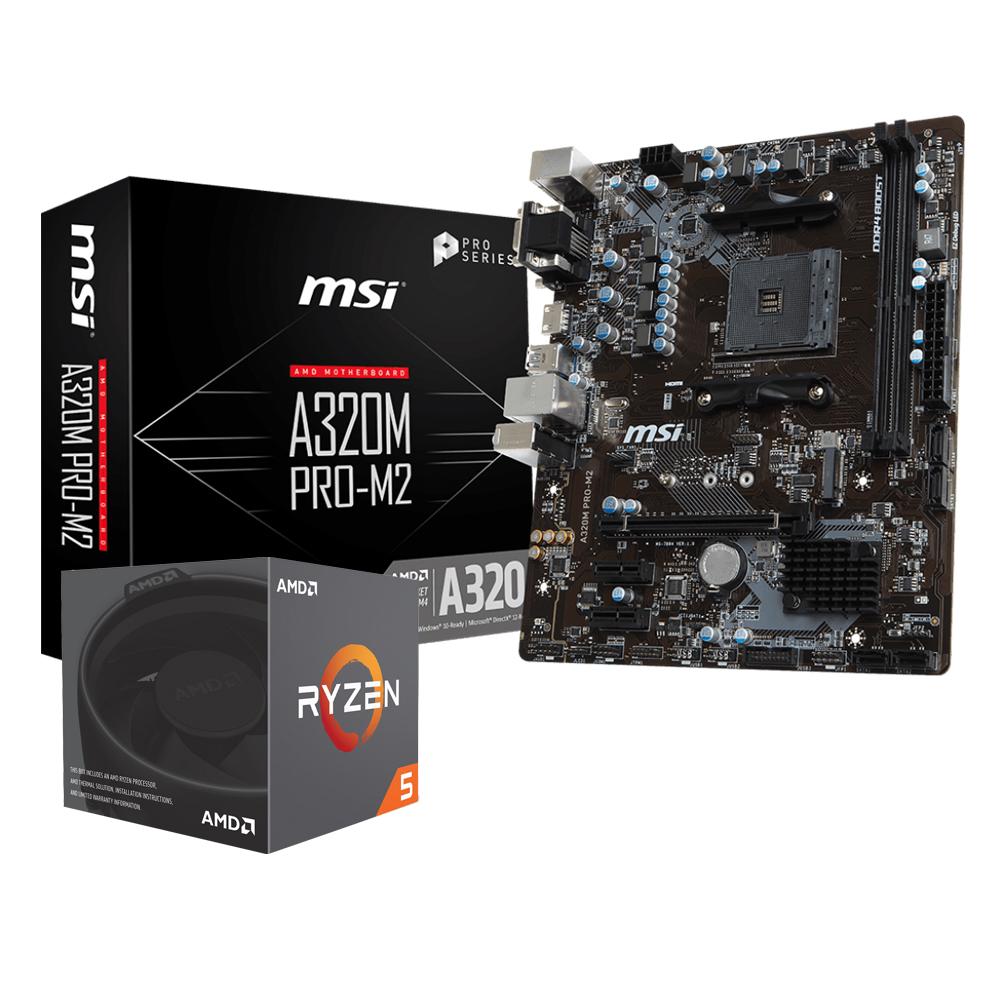 微星A320M PRO M2+AMD Ryzen5 2600 組合套餐