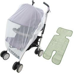 通用型全罩式兒童推車防蚊罩蚊帳亞麻草蓆涼墊超值組(PZ18)