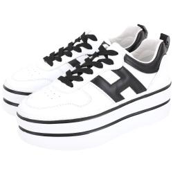 HOGAN H449 H 牛皮繫帶厚底雙槓鞋(白色)