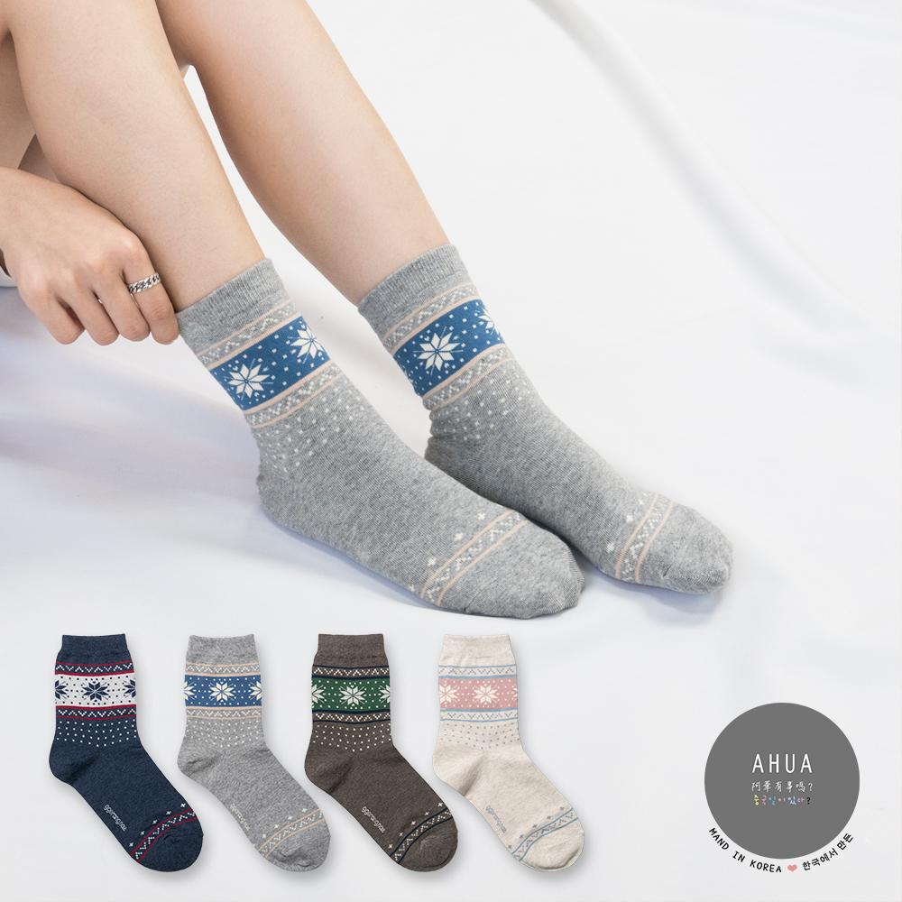 阿華有事嗎 韓國襪子 民族雪花中筒襪 韓妞必備長襪 正韓百搭純棉襪
