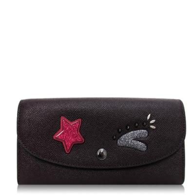COACH 十字紋皮革 / 信封式長夾(星星貼花/紫紅)