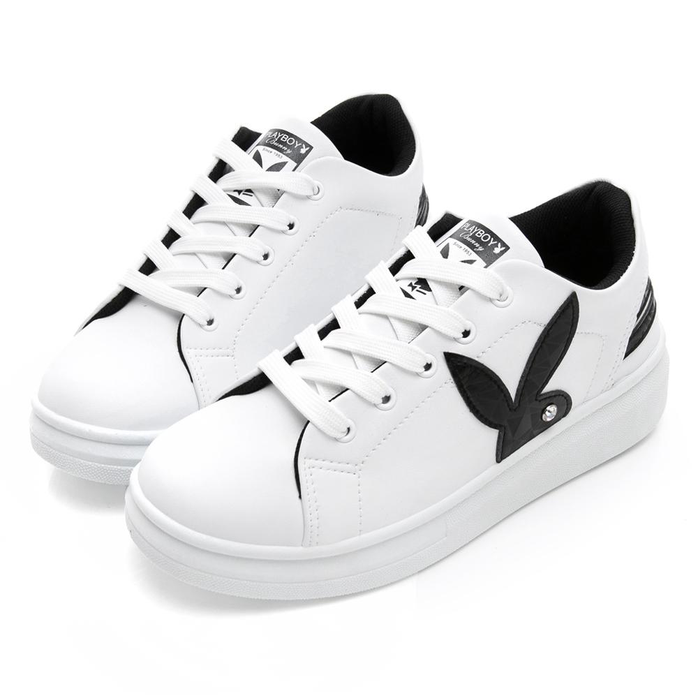 PLAYBOY 潮流感線條綁帶休閒鞋-白黑-Y52131C
