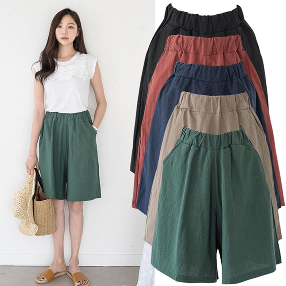 【韓國K.W.】(預購) 夏日輕旅率性風亞麻短寬褲(共5色)