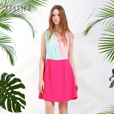 JESSICA - 多色拼接打褶設計無袖雪紡洋裝