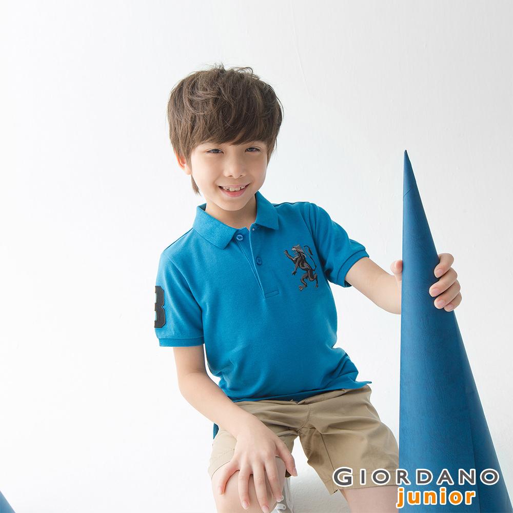 GIORDANO 童裝勝利獅王漸層刺繡彈力萊卡POLO衫-42 雪花月亮藍