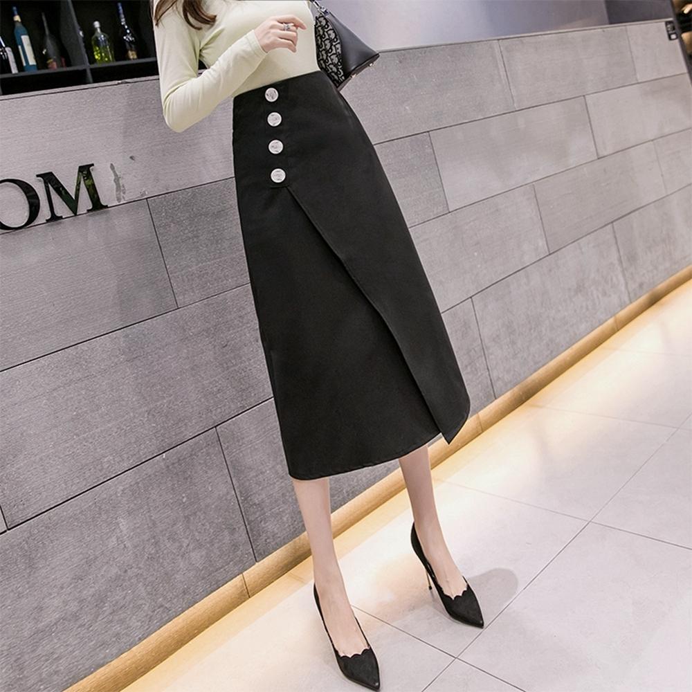 高腰單排釦純色不規則開叉A字裙S-XL(共二色)-WHATDAY