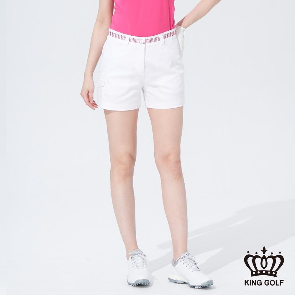 【KING GOLF】KING GOLF 簡約修身織帶短褲-白色