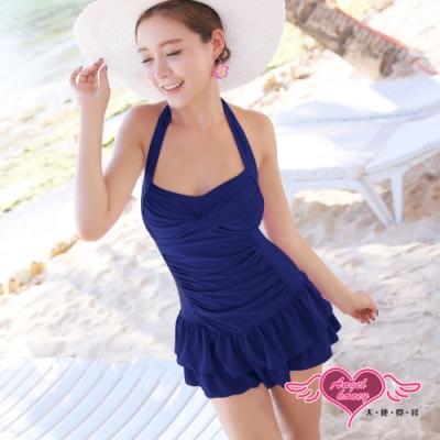 泳衣 稚嫩原色 一件式連身泳裝(深藍L) AngelHoney天使霓裳