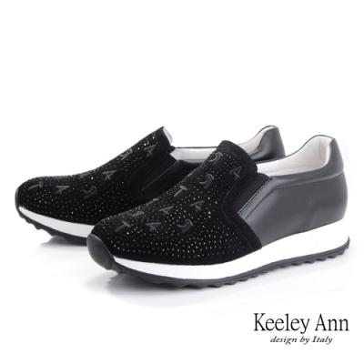 Keeley Ann我的日常生活 字母水鑽全真皮休閒鞋(黑色-Ann系列)