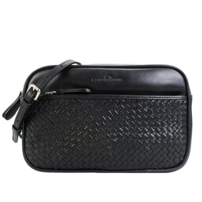 LA BAGAGERIE JOE系列牛皮編織斜背鍊帶相機方包(黑)