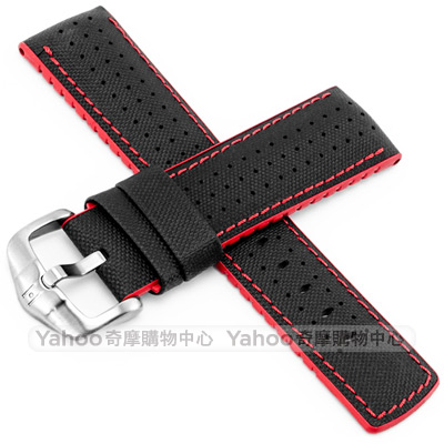 海奕施 HIRSCH Robby L橡膠複合小牛皮錶帶-黑紅