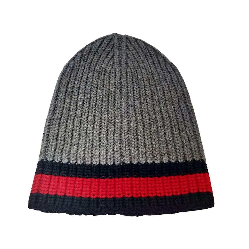 GUCCI  灰紅條紋針織毛帽(灰色)