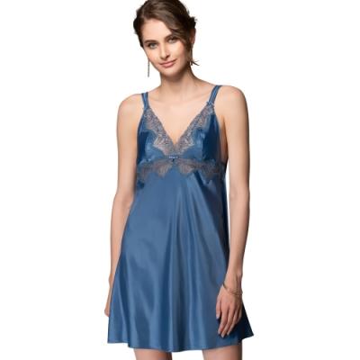 思薇爾 香榭巴黎系列連身蕾絲性感小夜衣(帕石藍)