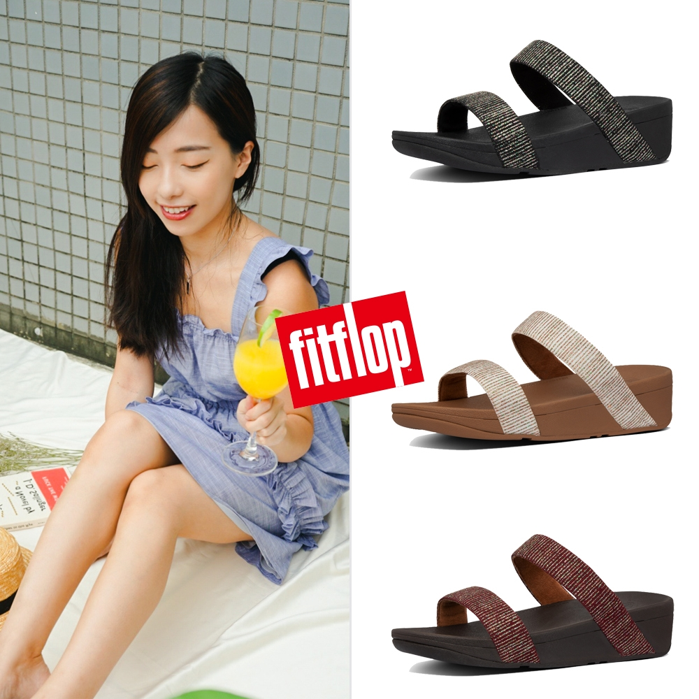 FitFlop LOTTIE GLITTER STRIPE SLIDES 金屬光澤線條造型雙帶涼鞋-女(共3款)